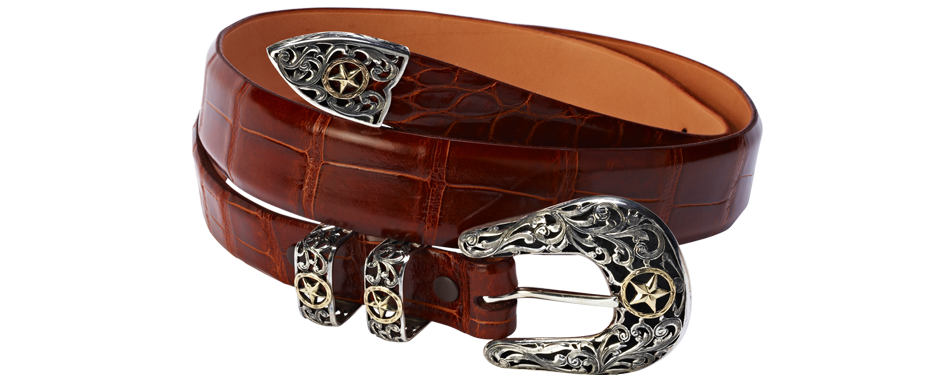Glossy cognac alligator belt with silver buckle
